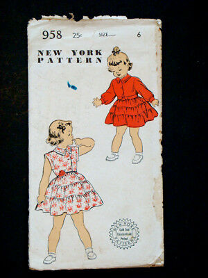 1940's 1950's Vintage NEW YORK #958 CHILDS GIRLS DRESS Fashion PATTERN / Size 6