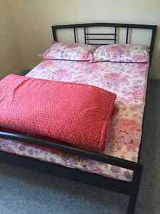 Queen size bed with frame, box spring and mattress