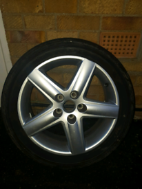 Audi a4/a3 refurbished alloy wheel with nearly new Dunlop tyre