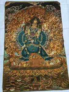 Beautiful embroidered silk Tibetan Thangka  painting