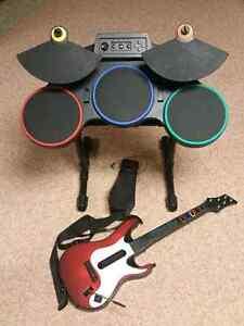 Sony Playstation 3 PS3 Guitar Hero Guitar+Drum+Pedal Set