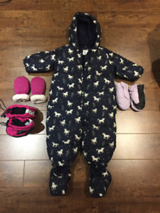 Baby and toddler girl winter snow suit, mitts and boots