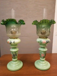 Pair of hand painted oil lamp