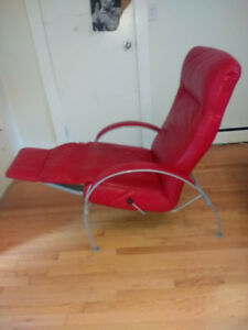 Modern Red Leather Billie Recliner Chair by LAFER