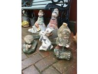 Garden gnomes, rabbit & hedgehog from £8 as below