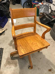 Antique Wooden Bankers Chair Restored