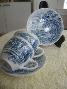MATCHING OLD VINTAGE ENOCH WEDGWOOD [TUNSTALL] LTD CUPS /SAUCERS