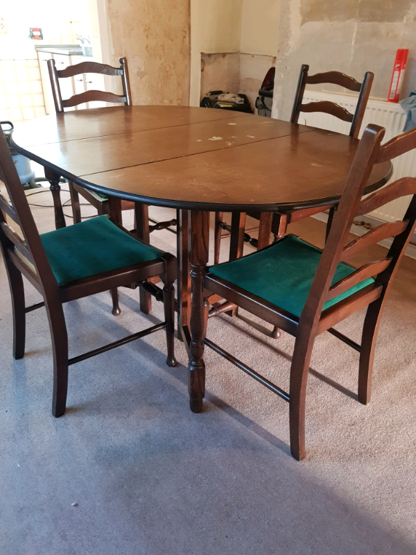 Free Drop Leaf Oval Dining Table And 4 Chairs 100 O N O In