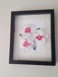 Wall Hanger/Decorative Frame/Art/ Flowers in Shadow Box