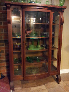 Antique Mission Tiger Oak China Display Cabinet/Bookcase