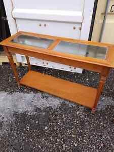Solid wood hall table with glass top