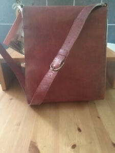 Maiwa Red Leather Tall Workday Bag