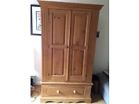 Pine wardrobe and matching chest of drawers
