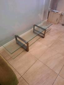 Long glass top coffee table on chrome legs £39
