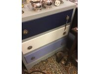 Blue and white shabby chic chest of draws