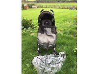 Chicco umbrella buggy newborn upwards khaki black raincover footmuff