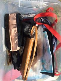 Box of bags, purses, cosmetic bags - some new