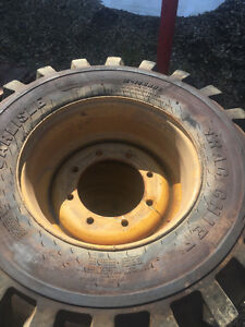 Front John Deere / Cat backhoe foam filled tires & wheels