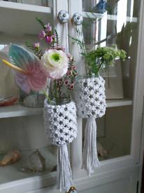 Handmade macrame vases/tealight holders