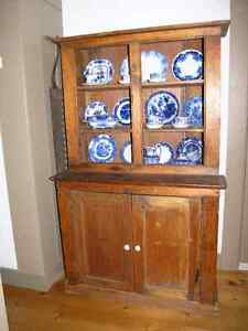 Antique Pine Flatback, Hutch , China Cabinet C 1870