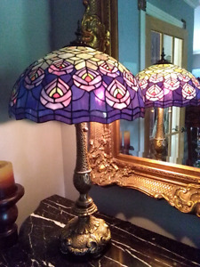 Real glass Tiffany peacock lamp lampe vitraile