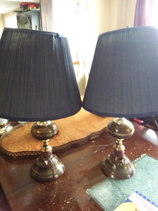2 lamps blue shades