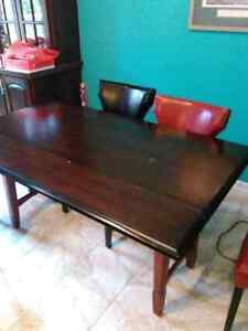 NEW PRICE!!!  Hardwood table and six leather chairs St. John's Newfoundland image 3