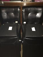 4 black leather kitchen chairs