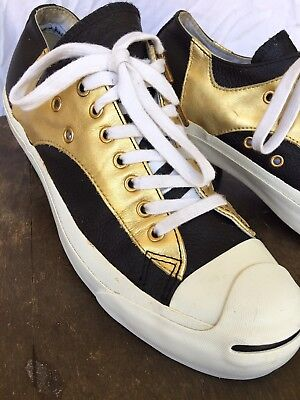 Converse Jack Purcell Specialty Low OX Gold Black Leather Gig Sneakers Men 8](Specialty Converse)