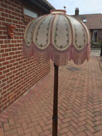 Oak standard lamp beautifully turned And fringe shade