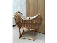 """Mothercare """"the snug"""" wicker Moses basket and oak stand"""