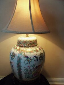 Antique Large Size Chinese Hand Painted Ginger Jar Lamp,working