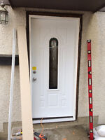 REPLACEMENT of Exterior man door, STORM DOORS & BASEBOARDS insta