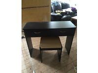 Black dressing table and stool