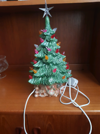Large ceramic green xmas Christmas tree table Lamp ornament decoration