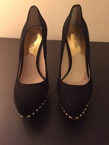 Black Michael Kor heels with gold studs