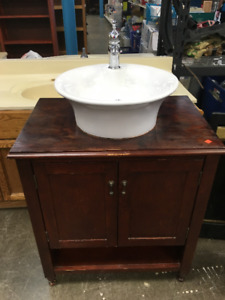 Red Cherry Stained Vanity with Raised Sink