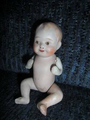 "Unmarked ~ Vintage Bisque Jointed 4-3/4"" Googly Eyed Doll, Estate Find"