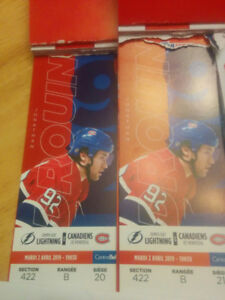 2 BILLETS CANADIEN vs TAMPA BAY