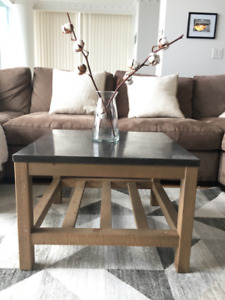 Matching Pottery Barn limestone coffee and end table