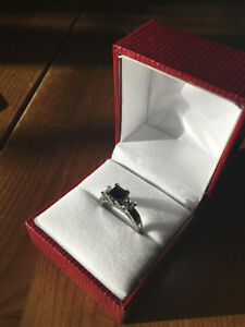 Engagement Ring, 14k white gold with blue sapphire and diamonds