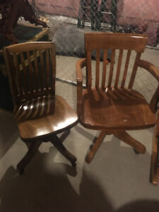 vintage wood desk chairs