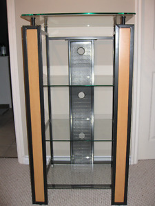 Glass and Metal Entertainment Stand