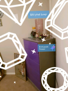 $120 purple dresser  And purple bed frame and pink lamp $50