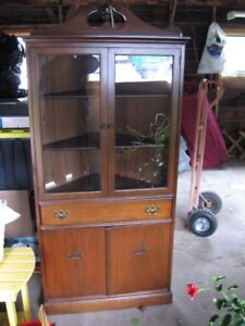 Vintage walnut corner china cabinet