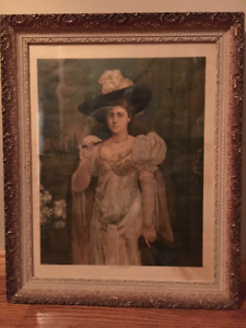 Framed Antique painting of Lily Hanbury