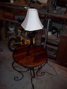 Black table lamp/cherry top end table with wrought iron base