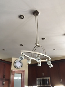 6 light Chandelier. Stain / Brushed steel finish