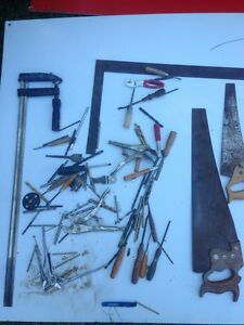 Assorted wood tools and drill bits