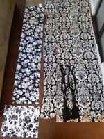 Damask curtains, table runners, pillow shams, and lamp